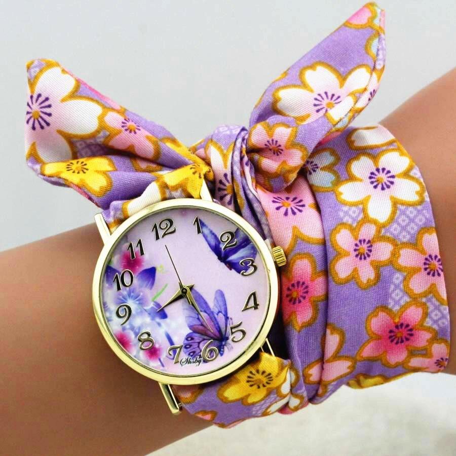 shsby dizains Sieviešu ziedu auduma rokas pulkstenis zelta modes - Sieviešu pulksteņi - Foto 2