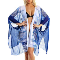 2019 сексуальное шифоновое пляжное платье для женщин, летние пляжные туники с принтом перьев, шаль, кардиган, пляжная одежда, купальник