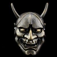 Top Quality 100% Resin Japanese Noh Mask Vintage Black white Evil Oni Noh Hannya Mask Theme Resin Masks Halloween Props