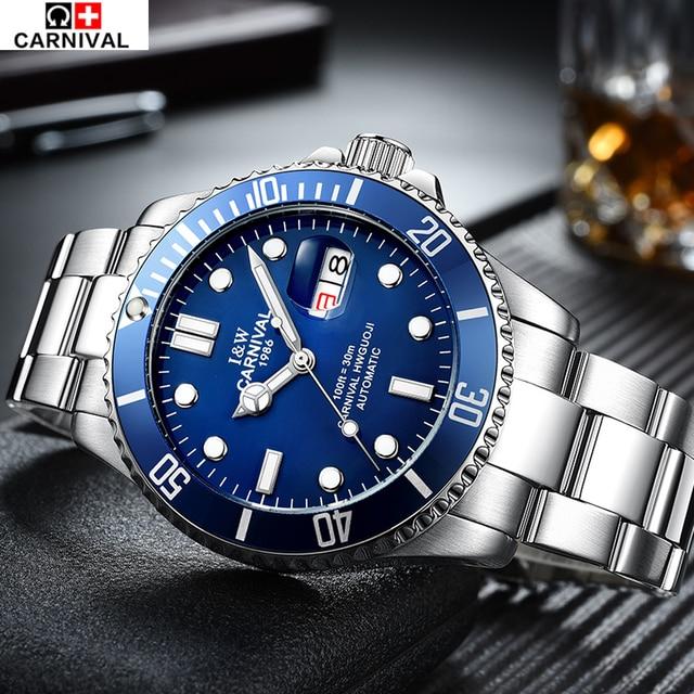 CARNIVAL Watches Men Business Luxury Sport Automatic Date Mechanical Steel Watch Luminous Mens Tourbillon Top Brand Wristwatch