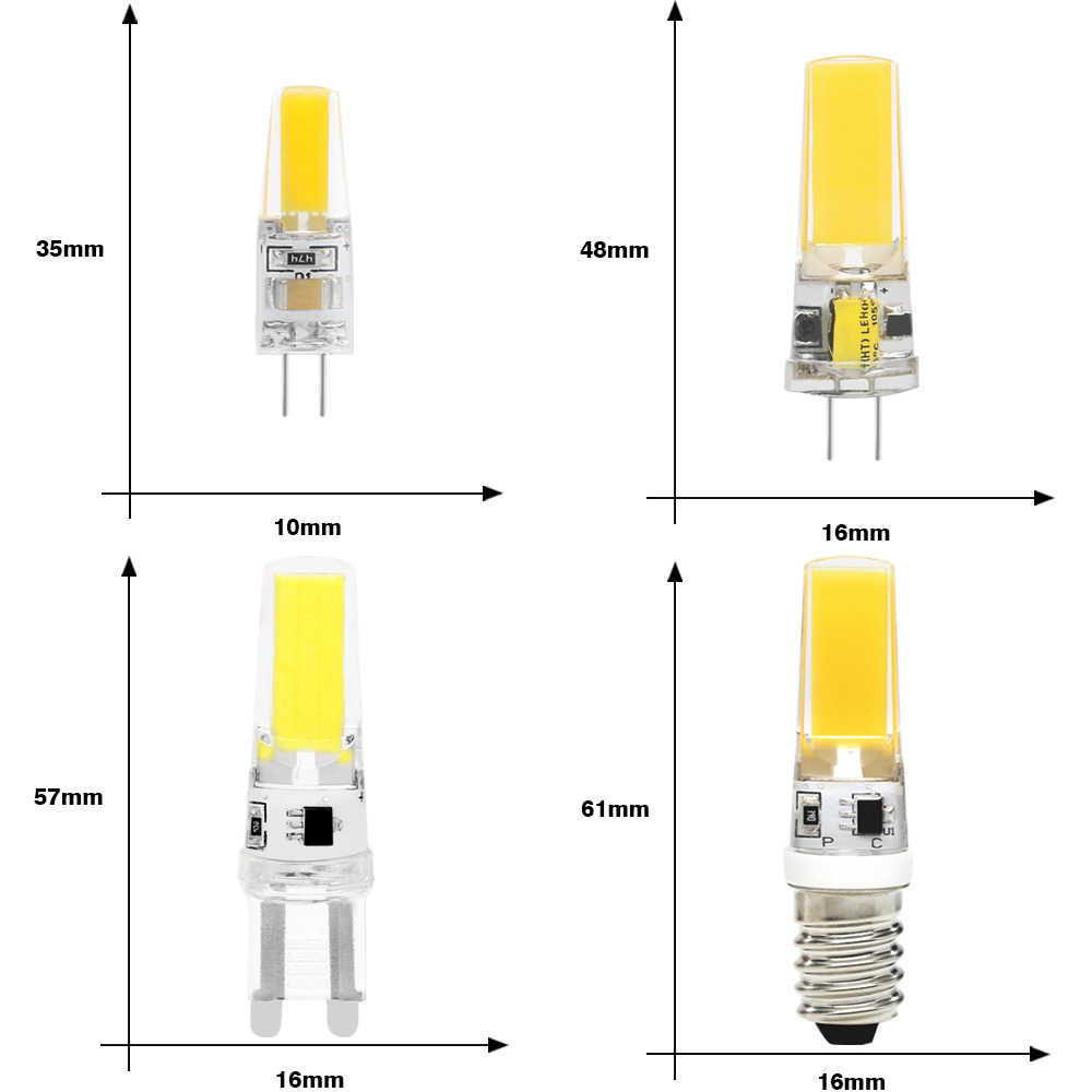 10PCS/lot LED COB G4 G9 E14 Lamp Bulb Dimable AC/DC 12V 220V 6W 9W 360 Beam Angle Replace Halogen Led Lamp Chandelier Lights