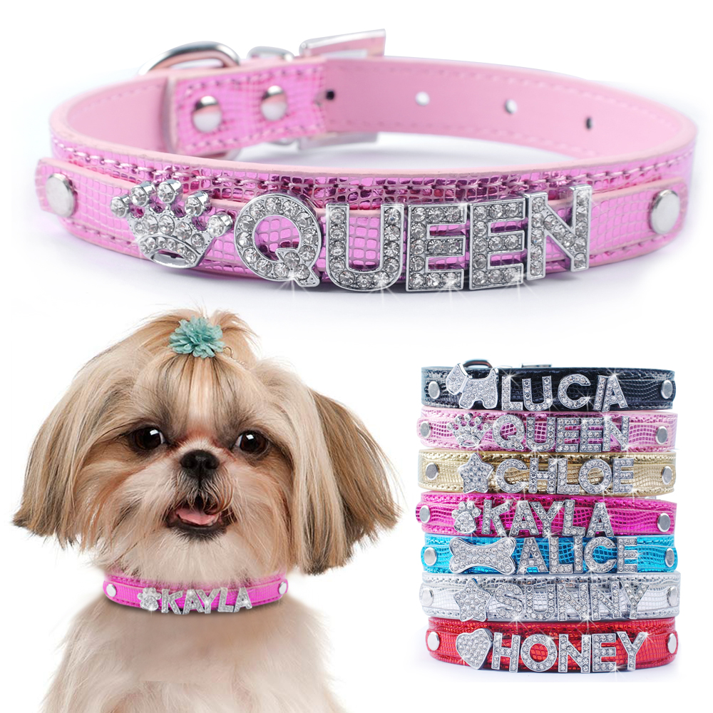 Customized Dog Collars Personalized Rhinestone Pet Puppy Collar Free Name  and Charm XS S M L for Small 3dcc1f8261fe