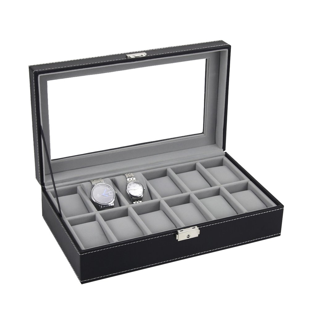 6/10/12 Slots Watch Box Case Rings Chain Necklace Holder Storage Organizer Jewelry Display Watch PU Leather Casket Saat Trendcy