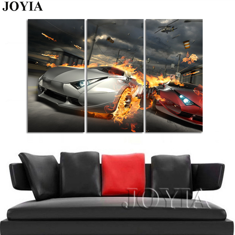 3 4 5 Piece Canvas Art Set Burning Sports Cars Painting Power War Wall Art Pictures Modern Bedroom Office Living Room Decors