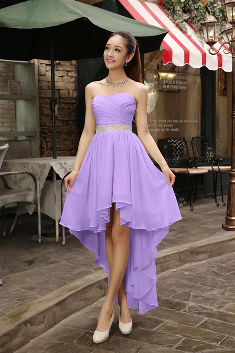 Alto Bajo Sweetheart Vestido de Dama de Cristal Más El Tamaño 2017 ...
