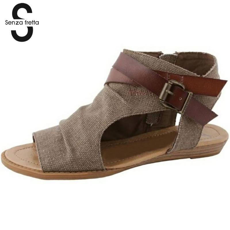 Senza Fretta 2018 New Women Summer Sandals Fashion Canvas Peep Toe Women Sandals Open Toe Lace-up Flats Beach Casual Flip Flops