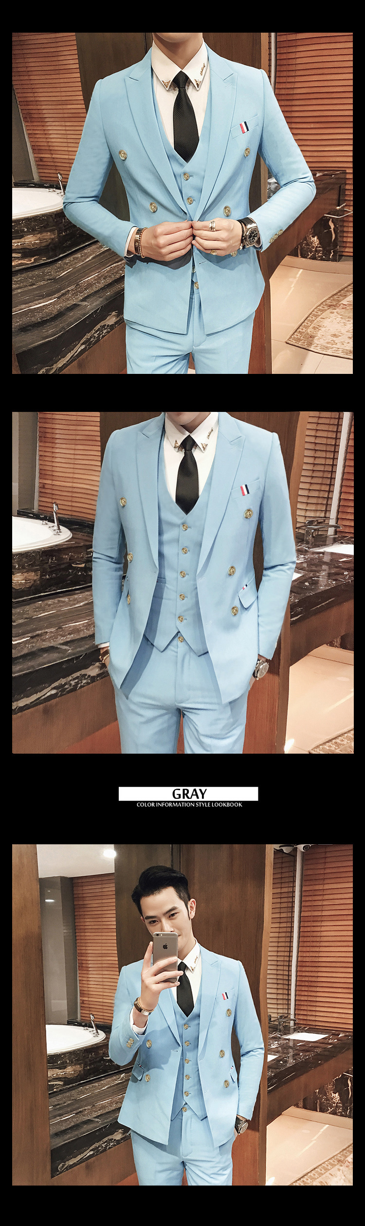 8 Color Double Breasted White Wedding Suit Costume Homme Mariage Men ...