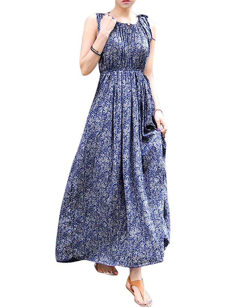 Vintage Floral Women Summer Boho Long Maxi Long Maxi Beach Sundress Dress  Vestidos