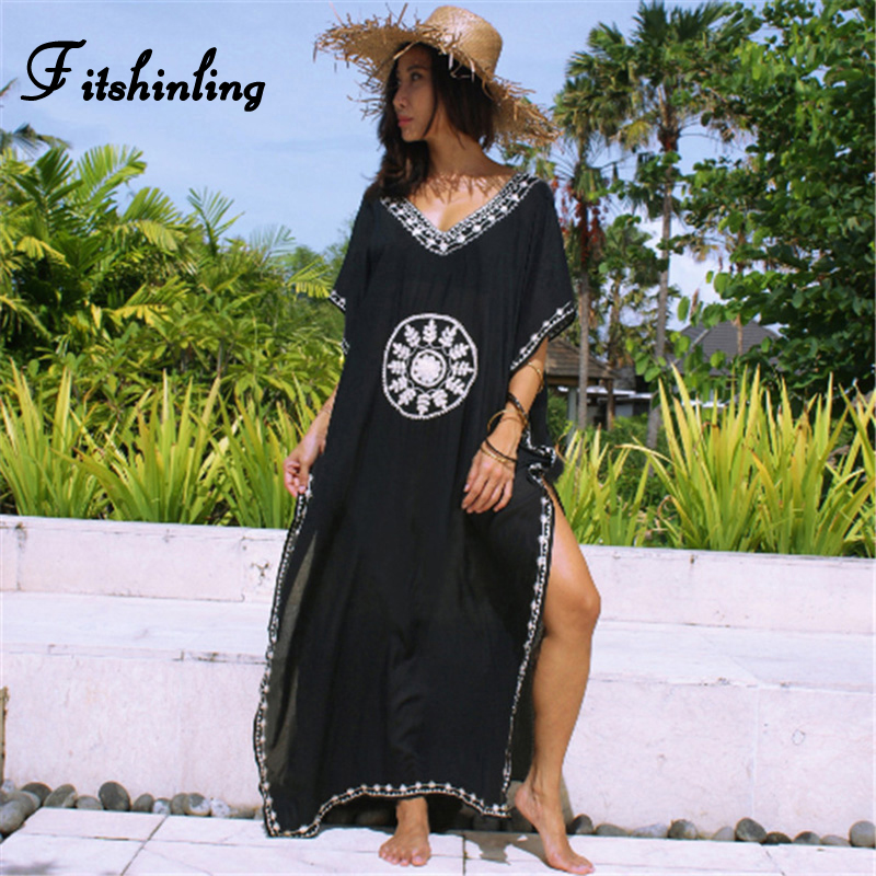 Fitshinling Vintage embroidery black long dress rove big size batwing sleeve slit maxi dresses for women boho flower pareos 2019