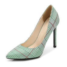Pointed Toe Ladies Multi Colored Special Plaid Shoes Size 35