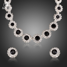 AZORA Clásico Partido Negro Clear Cubic Zirconia Colgante Collar y Pendientes Juegos de Joyería TG0161