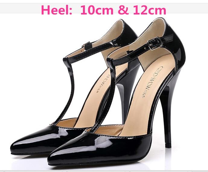 GZX101206 Fashion Woman Thin High Heels PU Pump Lady' Plus Big Size Sexy Pointed Toe Shoes Woman Wedding Shoes T-strap 10cm 12cm flag print zipper design jeans