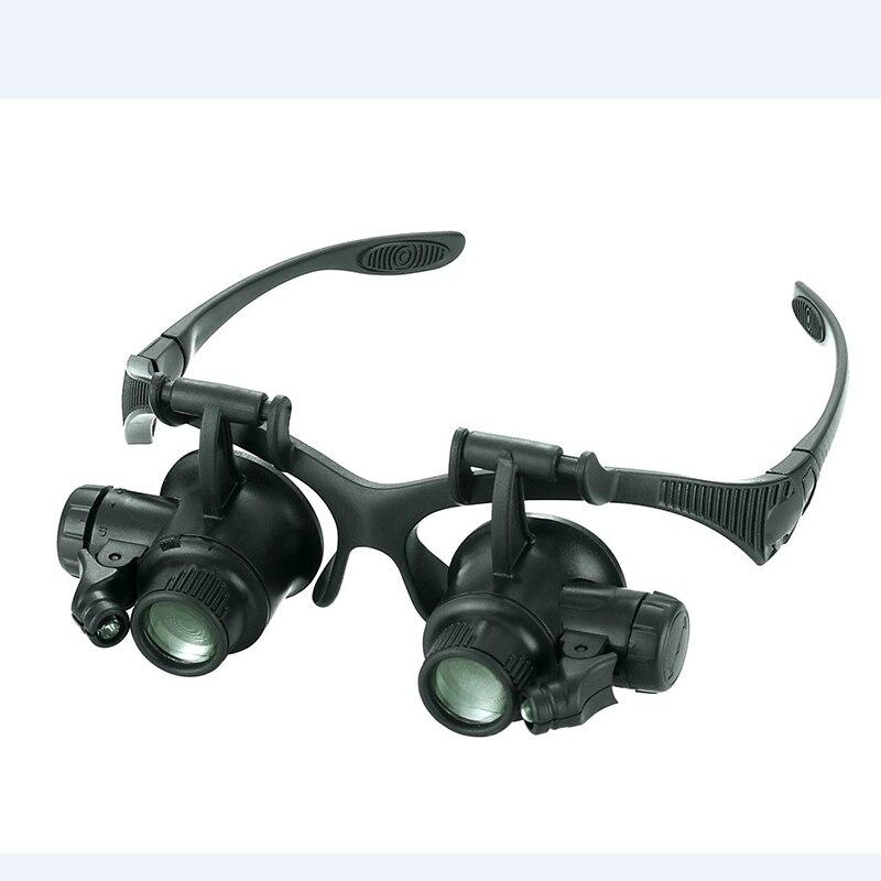 Réparation De montre Loupe 10X 15X 20X 25X Ajuster Lentille Loupes 2 LED Eye Loupes Bijoux Montre Outils De Réparation Avec boîte