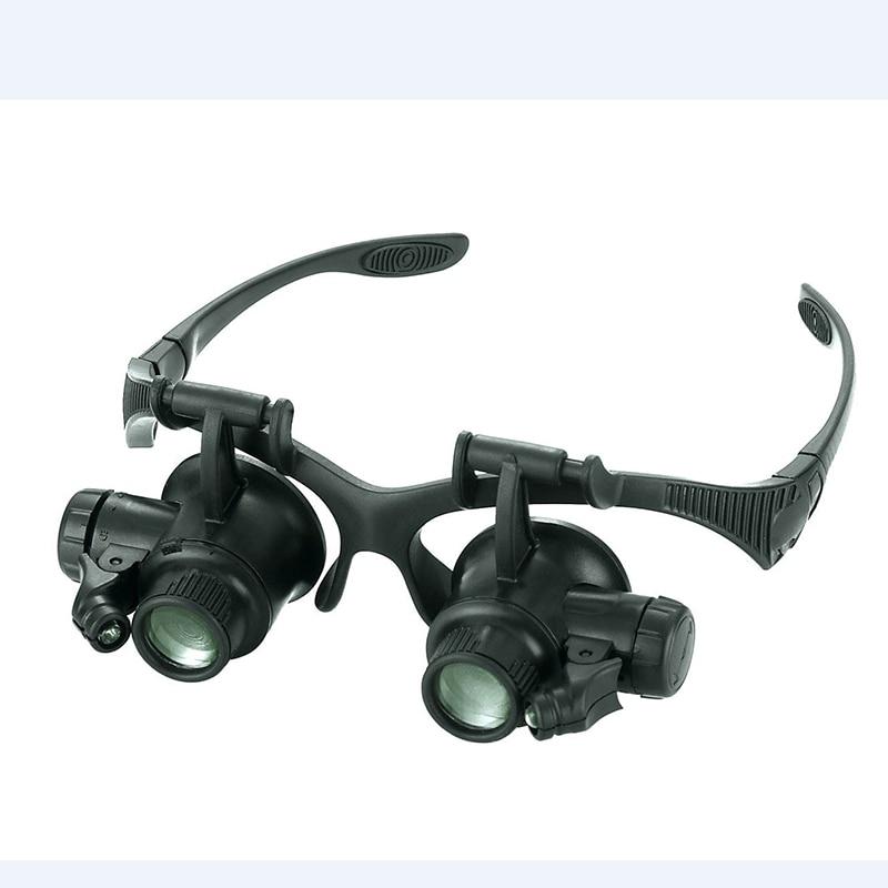 Reloj de reparación lupa 10X 15X 20X 25X ajustar lentes lupa 2 lupas de ojo LED joyería reloj herramientas de reparación con caja