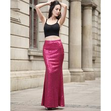 48616f73d3 2018 Sexy Women Bodycon Purple Sequined Long Skirt High Waist Tight Maxi  Skirts Club Party Wear Elegant Trumpet Skirts Casual