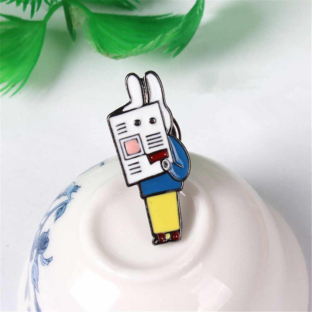 Giappone e Corea Del Sud serie a goccia rosa coniglio di lettura Dello Smalto dello smalto spilla, vestiti delle donne di pin badge/animali distintivo del commercio all'ingrosso