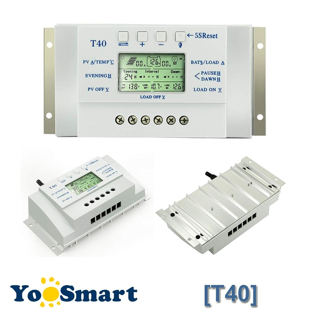 12V 24V 40A Solar Regulator MPPT PWM with LCD Display USB Intelligent Streetlight Three-time Solar Charge Controller Y-SOLAR
