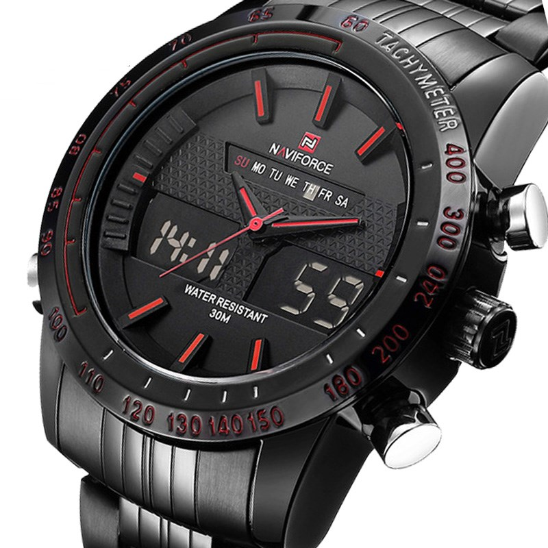 Uhren Men Watch Sport Mens Watches Top Brand Luxury Military Army Steel Band Analog LED Digital Quartz Male Clock 2018 NAVIFORCE asus pb287q