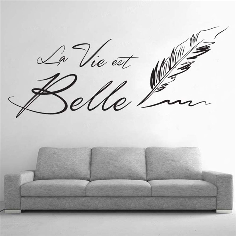 hot letters la vie est belle wall stickers creative french sentence beautiful life wall. Black Bedroom Furniture Sets. Home Design Ideas