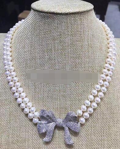 P7526 - 2row 19-20 8-9mm white round freshwater pearl necklace - zircon bowknotP7526 - 2row 19-20 8-9mm white round freshwater pearl necklace - zircon bowknot