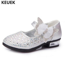 New Children Shoes Spring/Autumn Rhinestone Leather Shoes Girls Princess Bowtie Crystal shoes Kids Baby  High heeled Toddler 041