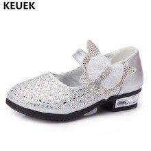 Novas crianças sapatos primavera/outono strass sapatos de couro meninas princesa bowtie sapatos de cristal crianças bebê de salto alto da criança 041