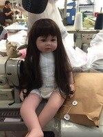 Comercio al por mayor de Silicona Renacer Baby Doll Juguetes de 22 pulgadas con el pelo Largo Reborns Realista Muñecas Del Bebé 100% Hecho A Mano de La Muchacha Niños Playmates