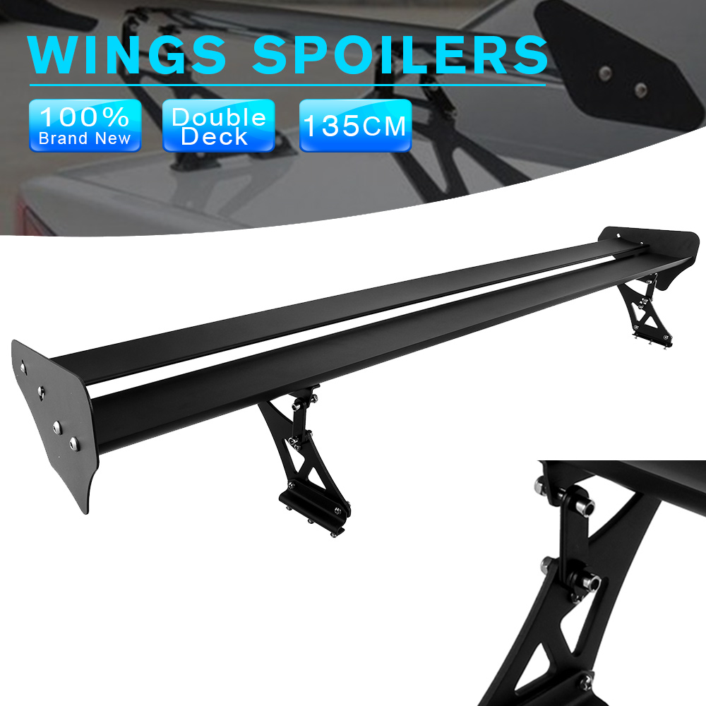 135cm Universal Car Black High Quality Lightweight Aluminum Spoilers Wings GT Truck Racing Spoiler Rear Tail Wing D30 hb universal high quality lightweight aluminum double deck gt spoiler rear spoiler wing racing black for auto car