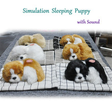 Lovely Simulation Animal Doll Plush Sleeping Dogs Toy with Sound Kids Toy Decorations Gift For Children Stuffed Toys