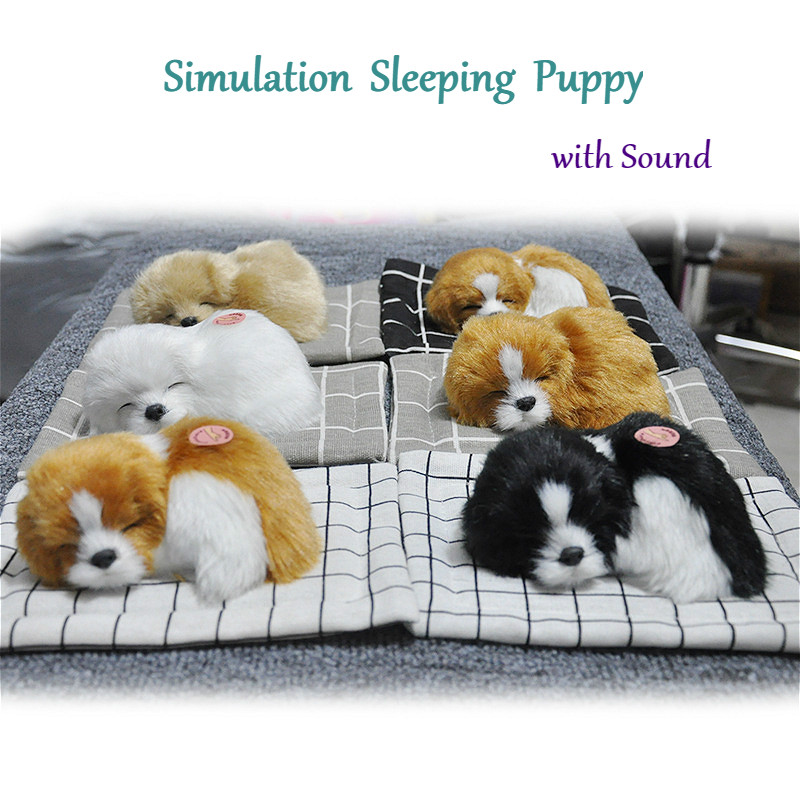 Lovely Simulation Animal Doll Plush Sleeping Dogs Toy with Sound Kids Toy Decorations Gift For Children Stuffed Toys image