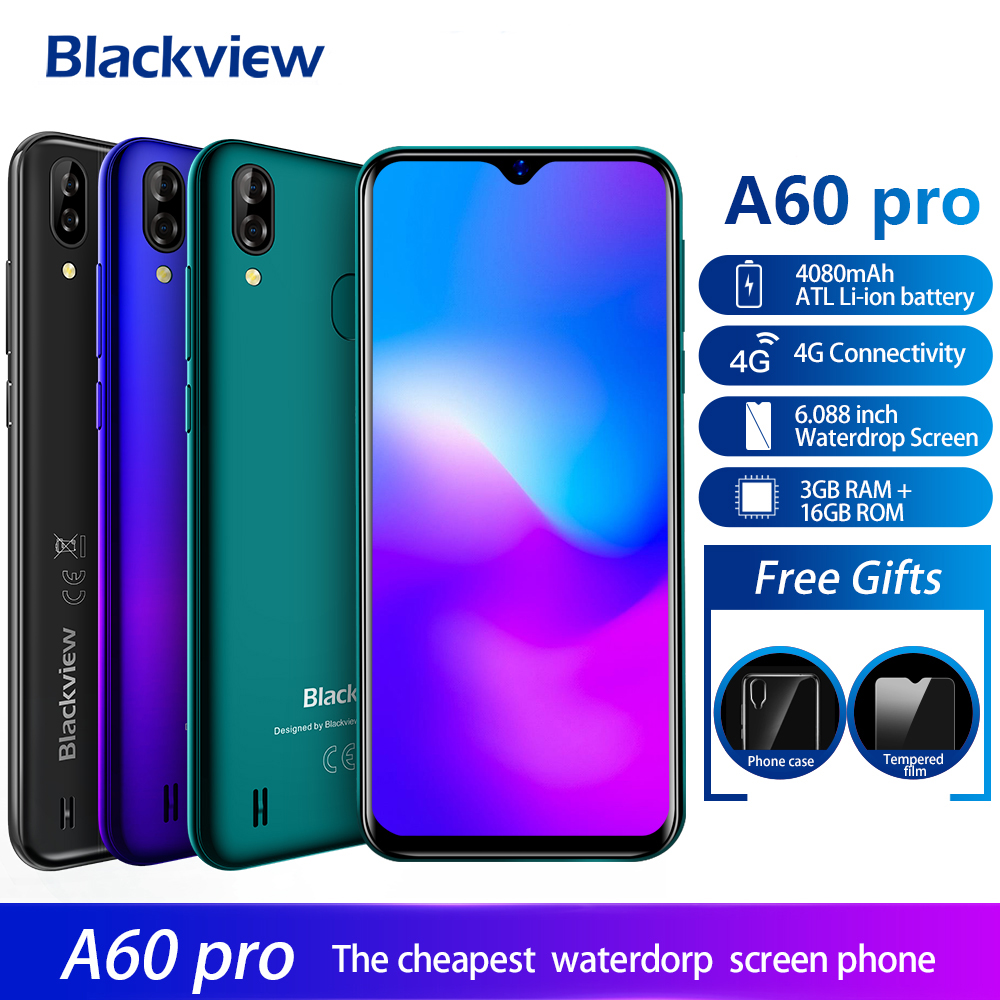 Blackview A60 Pro 4G Smartphone Android 9.0 3GB RAM 16GB ROM  4080mAh Battery 6.088'' Waterdrop Screen Fingerprint Unlock Mobile