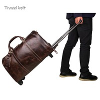 Travel Belt 100% Genuine Leather high quality Rolling Luggage Retro Men Suitcase Wheels 20 inch Cabin cowhide Travel Bags