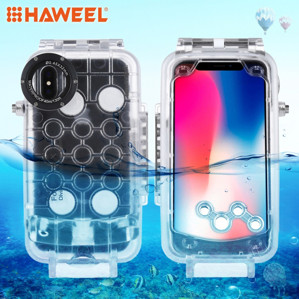 HAWEEL Diving Housing For iPhone XR/ 7/8 / XS&X /8plus Case 40M/130FT Waterproof Photo Underwater Cover Case For iPhone X XS