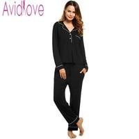 Avidlove Brand Pajamas Women Long Sleeve Solid Sleepwear Female Sleep & Lounge Cloth Fashion Women's Nightgown Pajamas Set S XL