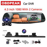 Latest 4.3 car camera dvr dash cam White mirror full HD 1080p dual lens rear view mirror Auto Recorder Video car driving video