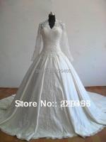 New Model Cathedral Train V Neck See Through Long Sleeve Lace Beading Muslim Bridal Wedding Dress