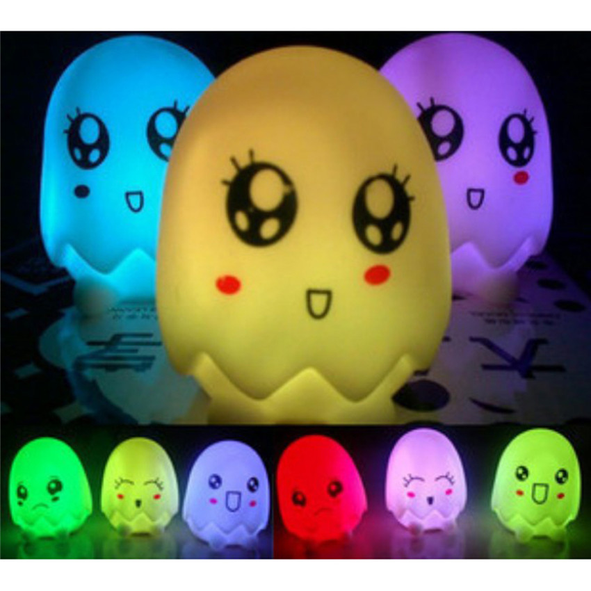 PROBE SHINY Colorful Night Light Yellow Duck Eggshell LED Bulbs Night Lamp Bedroom Kids Children Baby Holiday Decoration Gift