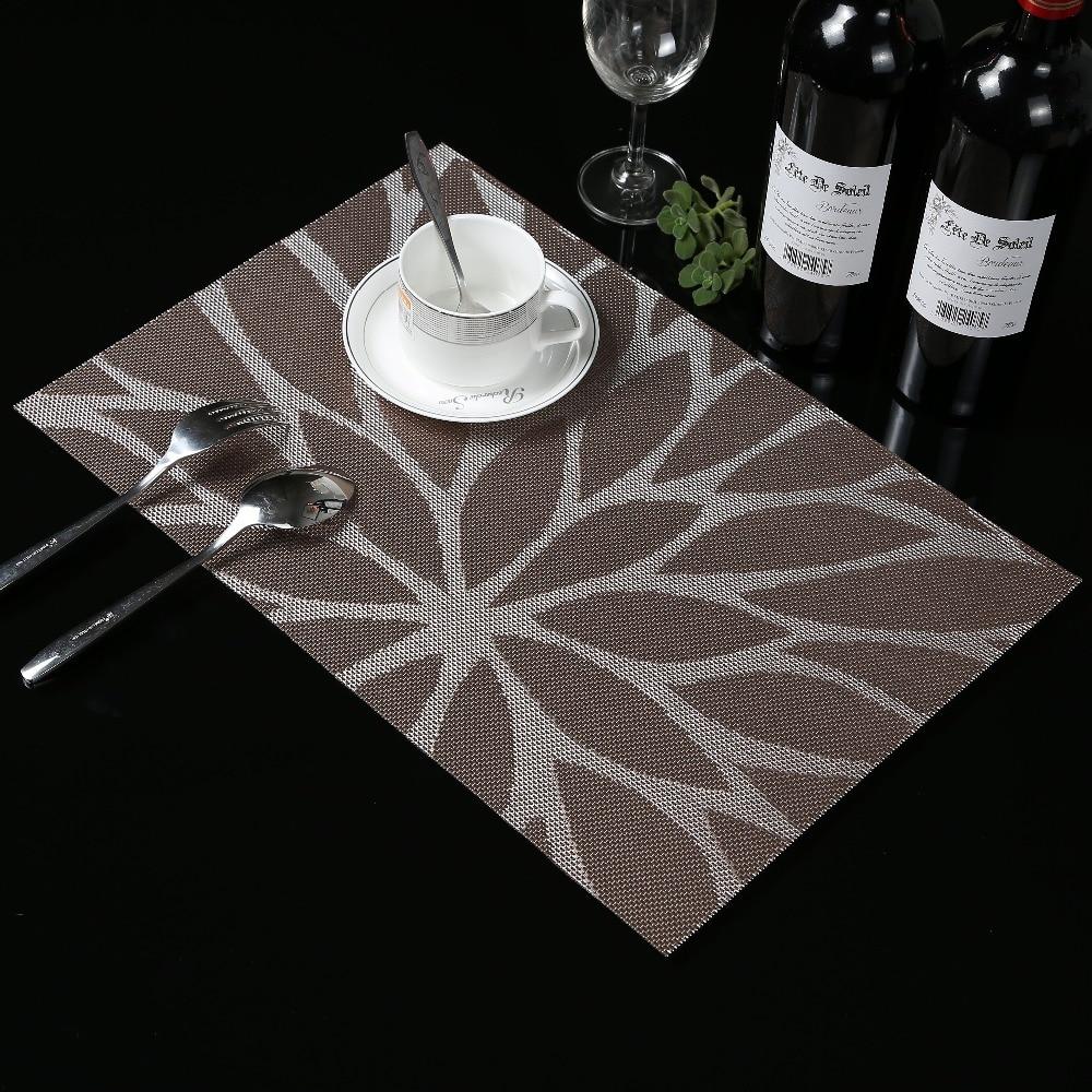 4 Stks / partij weave Placemat Zonnebloem eettafel mat remblokjes kom pad onderzetters waterdicht tafelkleed pad antislip pad