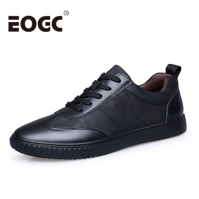 Men casual shoes 2018 Autumn Genuine leather shoes men sneakers Comfortable Male Lace up Flats Fashion black men shoes 37-45