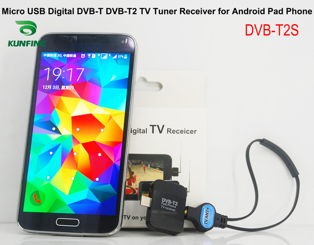 KUNFINE Micro USB Digital DVB-T DVB-T2 TV Tuner Receiver for Android Phone and Pad