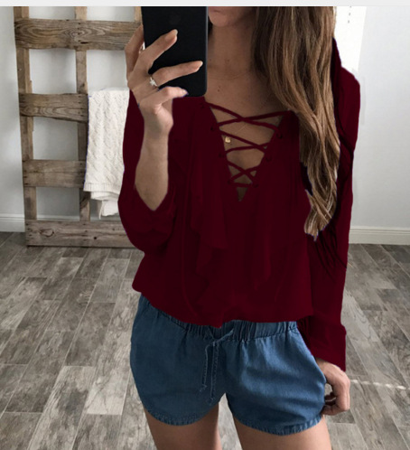 2018 Fashion Sexy Top Women Chiffon Blouse Summer Autumn Lace Up V Neck Ruffles Long Sleeve Shirt Casual Blusa Feminina