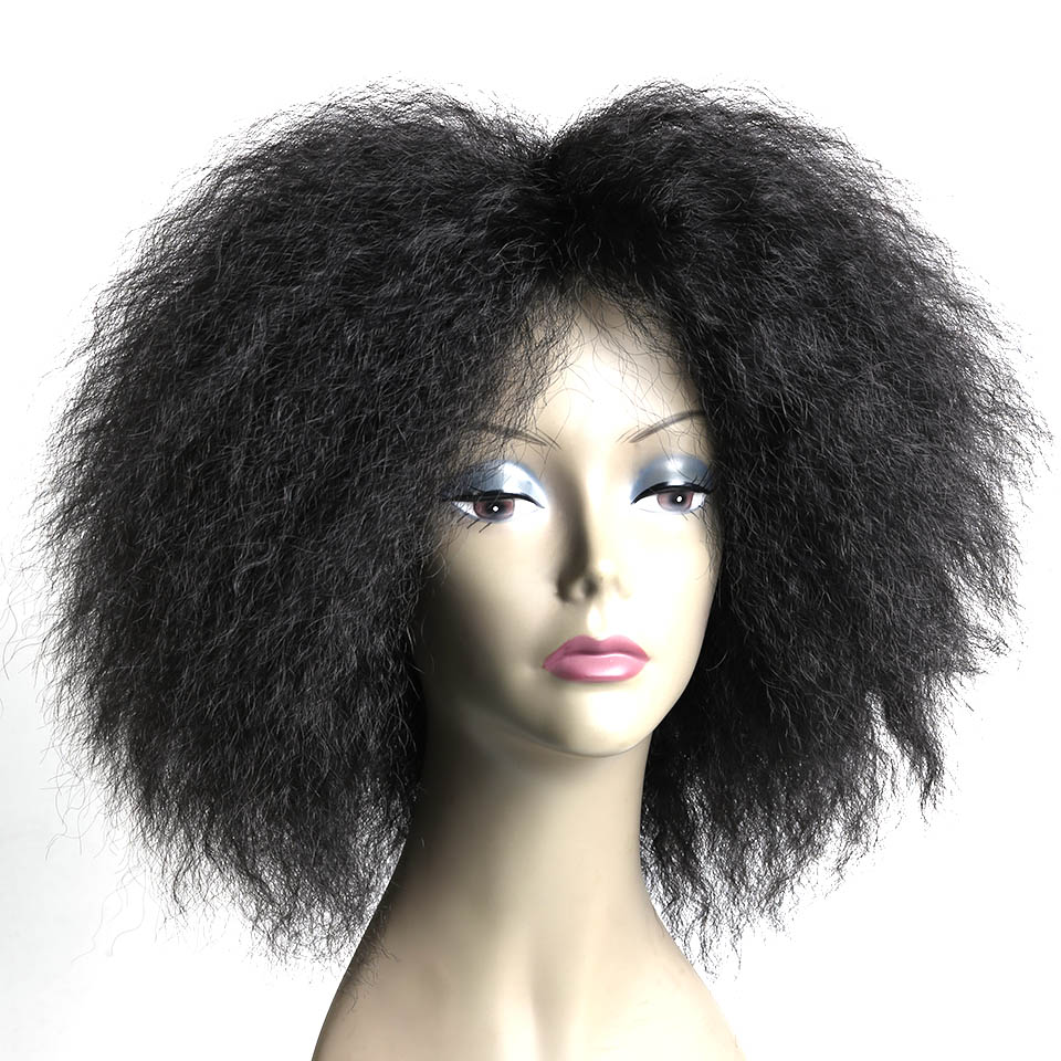 WTB Natural Short Afro Kinky Curly Synthetic Wig For Women High Temperature Fiber Wigs