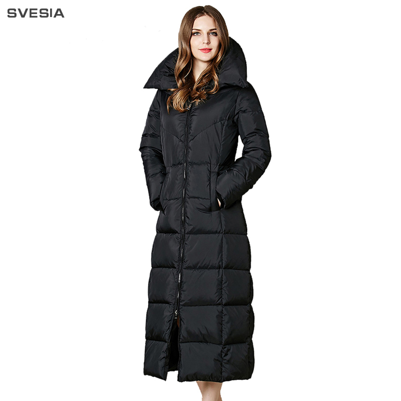 SVESIA Women 2018 Collection Winter 90% White Duck   Down     Coat   Black Color Hoodies Female Fashion Thicken Jacket   Coats