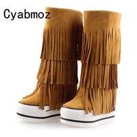 Новые замшевые ботинки «мартенс» Для женщин из натуральной кожи с бахромой увеличивающие рост 13 см ботинки, увеличивающие рост высококачес