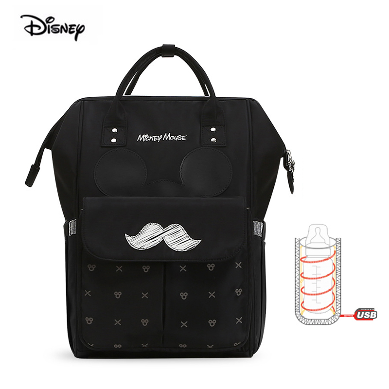2019 New Disney Mickey Mouse Maternity Backpack For Babies Insulation USB Heating Multi function Big Capacity
