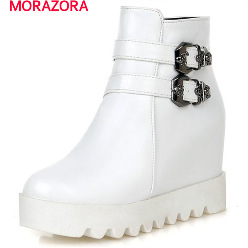MORAZORA Hot sale buckle skull college style women autumn shoes  ankle boots platform shoes height icreasing fashion bootsMORAZORA Hot sale buckle skull college style women autumn shoes  ankle boots platform shoes height icreasing fashion boots