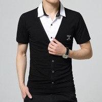 2017 החולצה של הגברים קיץ שרוול קצר כותנה בחולצת טריקו False מגניב שני תיקון עיצוב צווארון חולצה בתוספת שומן בגדים של גברים גודל M-5XL