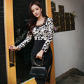 Women suit Office Bandage Party Sexy Bodycon Vintage Vestidos Dress Leopard  lace tops and High waist Pencil skirt 2 piece set