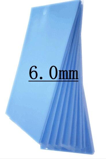 200*400*6.0mm haute silicone conductrice thermique tampons silicone souple cpu radiateur portable leds double face adhésif simple face