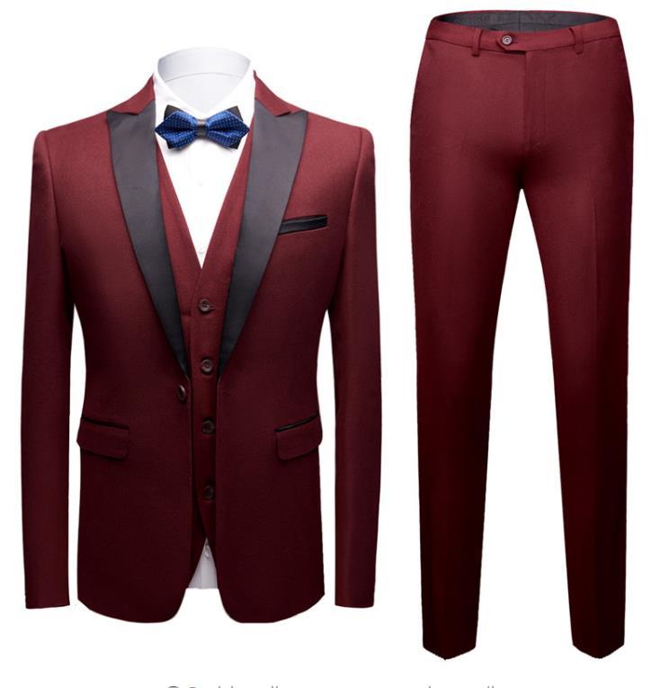 Classic Business Wine Red Blue Black Male Suits Men's Custom Slim Fit Wedding Suit Tuxedos (Jacket+Vest+Pants) Trajes De Terno